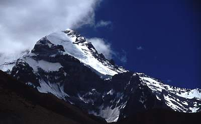 Aconcagua and Polish Glacier from Casa de Piedra